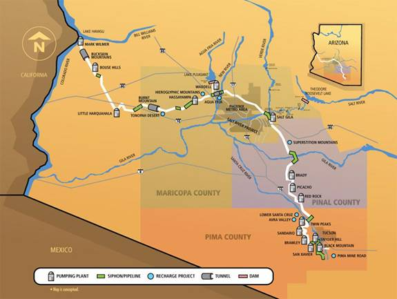 Map Of Central Arizona.Assured Water Supply